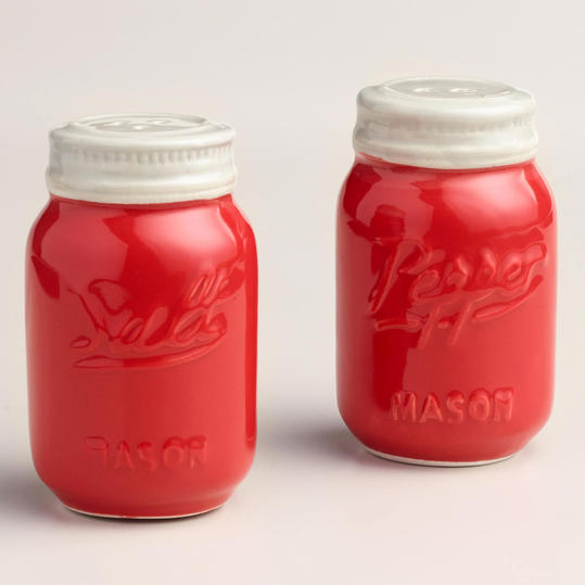 Red Mason Jar Salt and Pepper Shaker