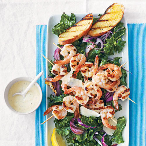 kale caesar salad with grilled shrimp recipe