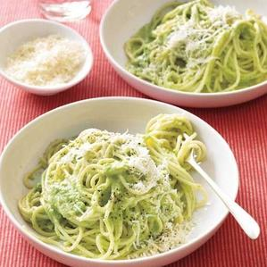 spaghetti with broccoli pesto recipe