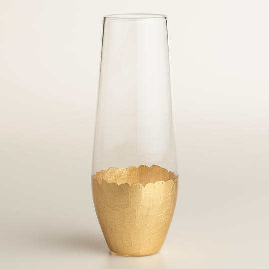 Stemless Gold Champagne Flutes