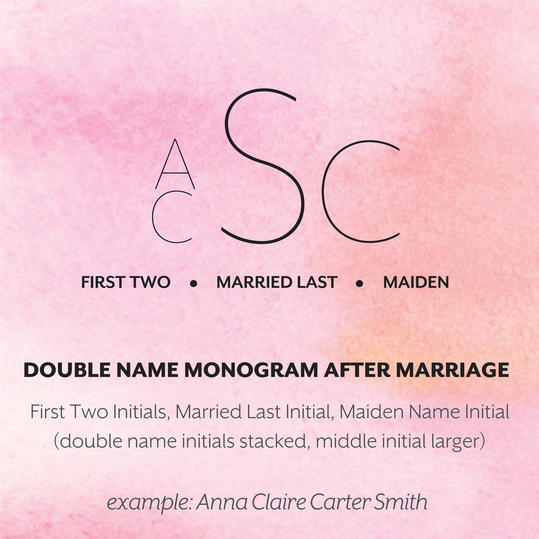 Married Double First Name Monogram Format  Double First