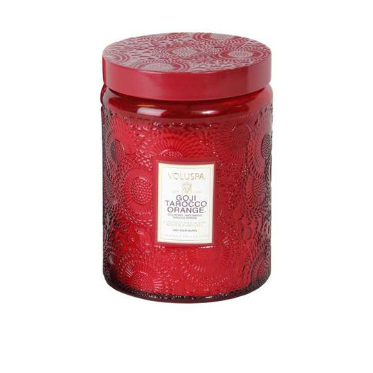 Voluspa Japonica - Goji Tarocco Orange' Large Embossed Jar Candle