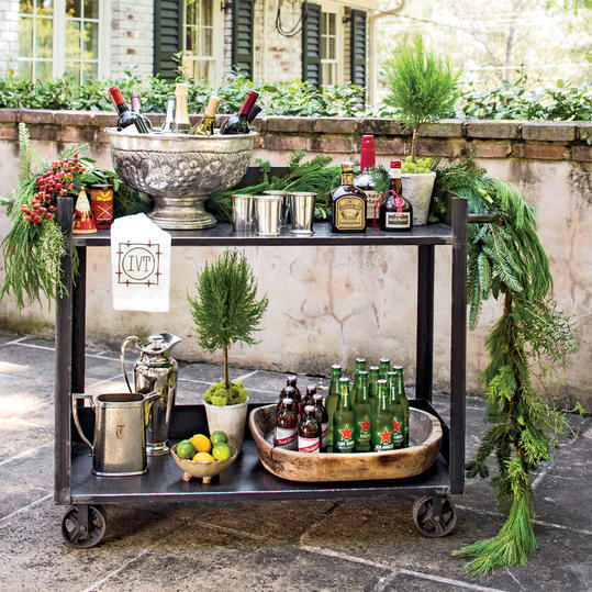 Bar Cart Draped in Garland