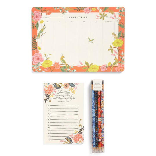 Desk Pad, Notepad & Pencils Set