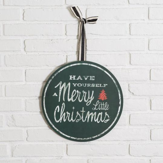 """Round """"Merry Little Christmas"""" Sign"""