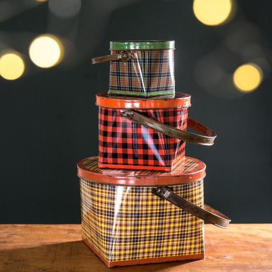 Tin Plaid Buckets