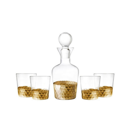 'Daphne' 5-Piece Decanter & Whiskey Glasses Set
