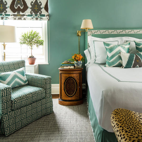 Ocean-Colored Blue Bedroom