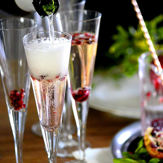Champagne Pomegranate Cocktails