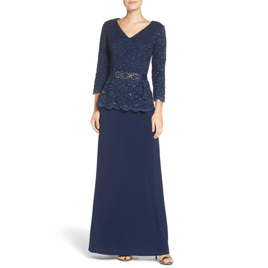 Alex Evenings Embellished Lace Jersey Gown