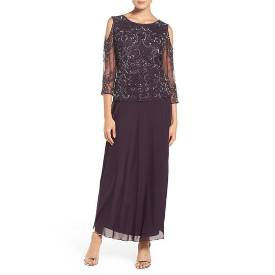Pisarro Nights Embellished Cold Shoulder Gown