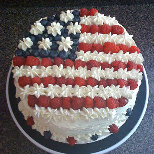 American Flag Berry Cake