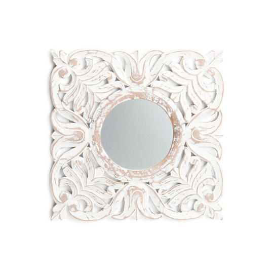 Square Distressed Carved Mirror