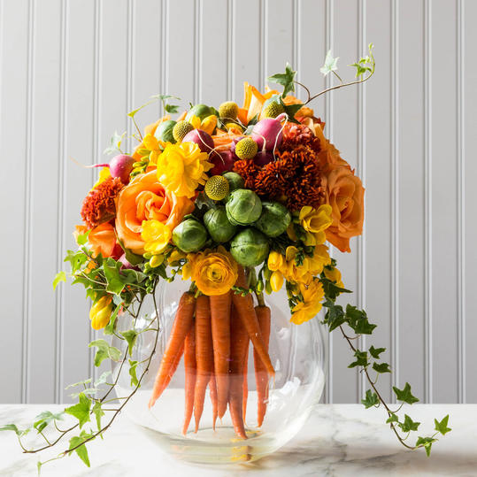 Carrots and Flowers Centerpiece in Vase
