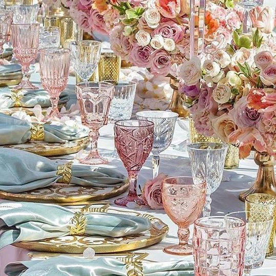 Colorful Glassware Wedding Tablescape