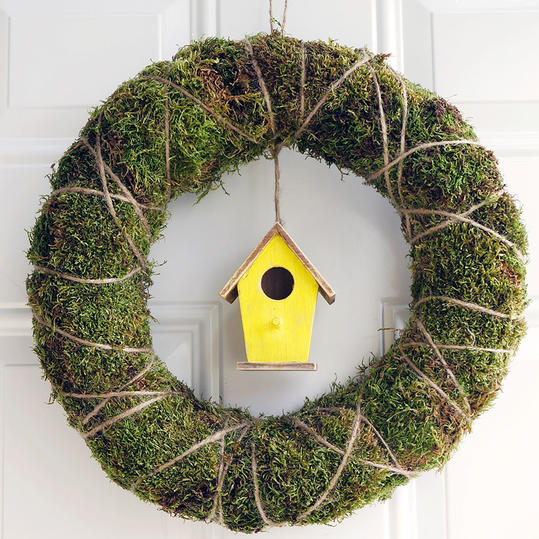 Moss Wreath with Yellow Birdhouse