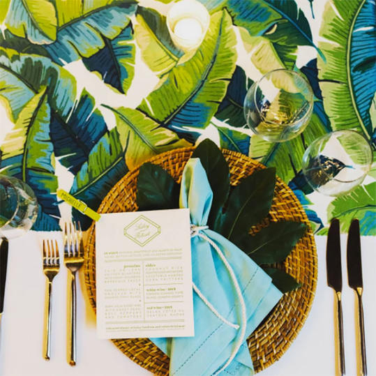 Palm Green and Blue Tablescape Tara Guerard