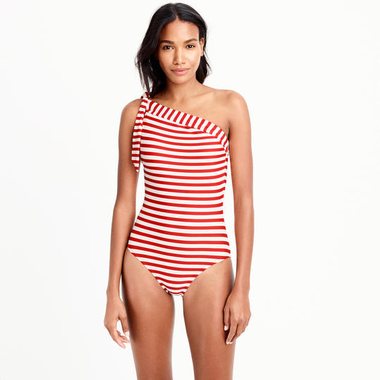 One-Shoulder One-Piece Swimsuit in Classic Stripe