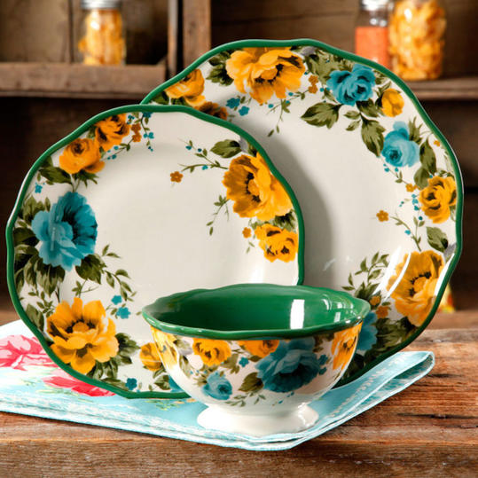 Yellow and Green Rose Dinnerware Set