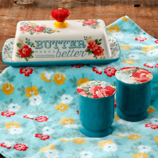 Floral Salt and Pepper and Butter Dish Set