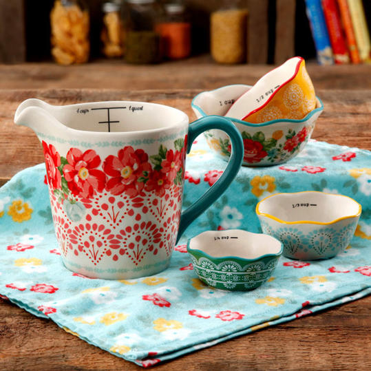 Floral Measuring Bowls and Cup Set