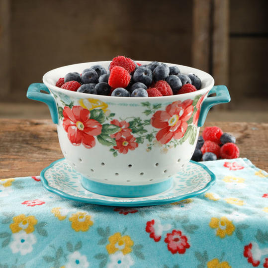 Colander with Red Flowers