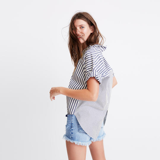 Madewell Courier Button-Back Shirt in Stripe Mix