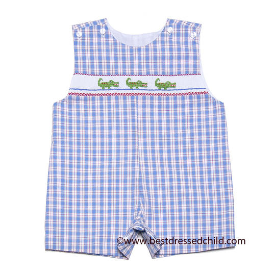 Blue Plaid Smocked Green Gators Sunsuit
