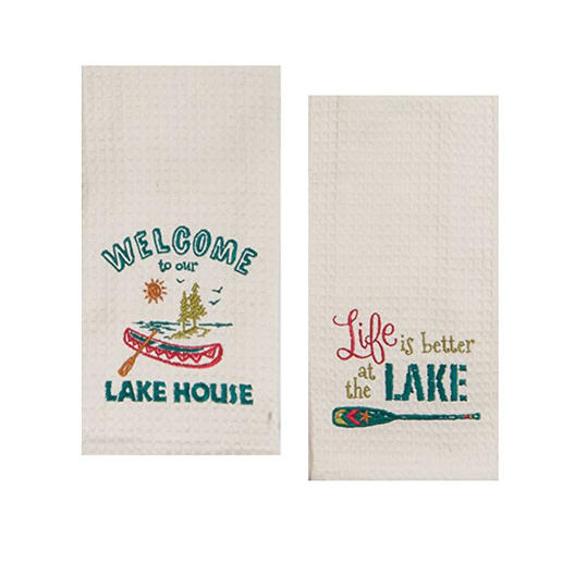 Lake House Embroidered Towels Set