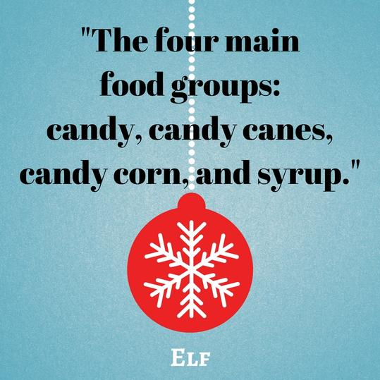The four main food groups: candy, candy canes, candy corn, and syrup.