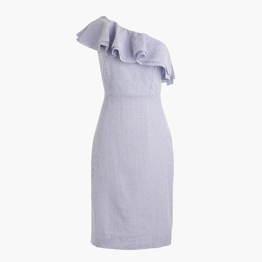 Jcrew One-Shoulder Ruffle Dress in Seersucker