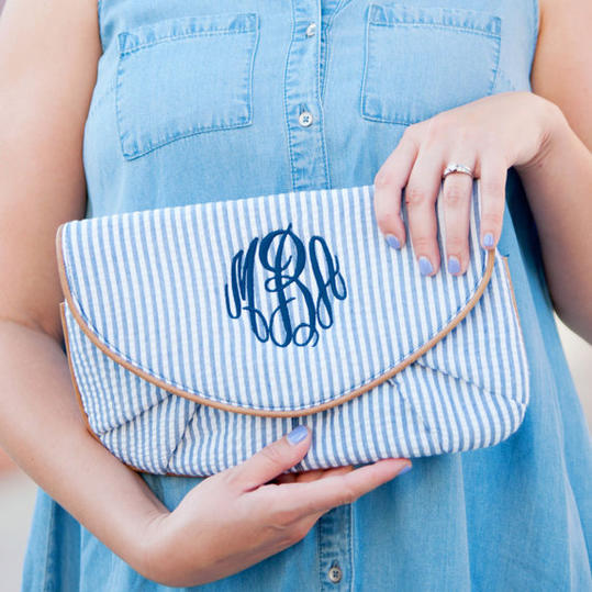 Navy Seersucker Monogram Clutch