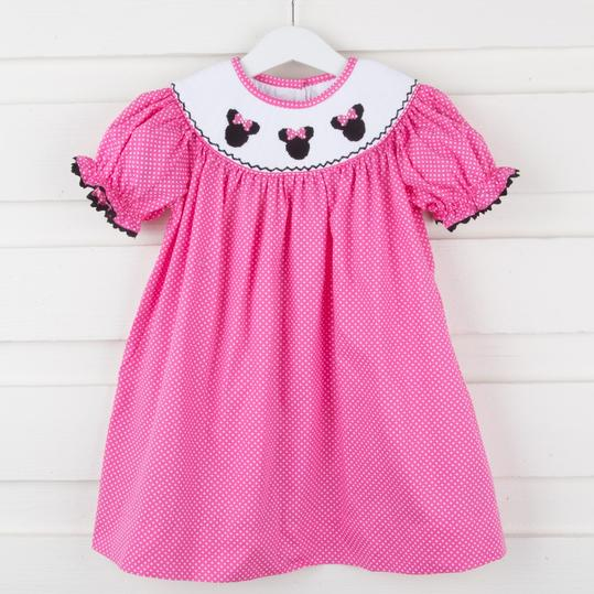 Mouse Ears Smocked Bishop Dress
