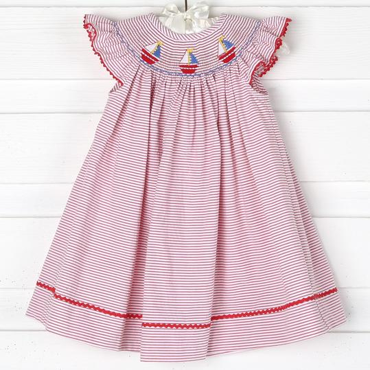 Smocked Sailboat Dress in Red Stripe