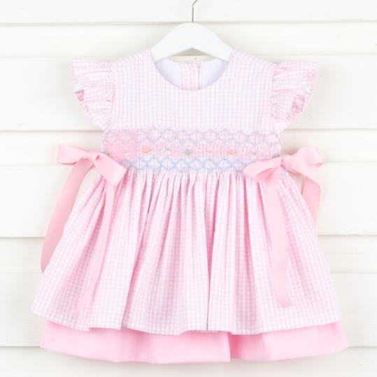 Seersucker Smocked Dress