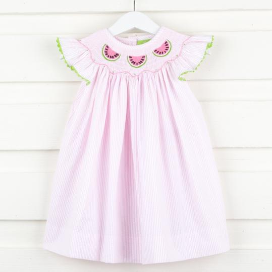 Pink-Striped Watermelon Smocked Dress