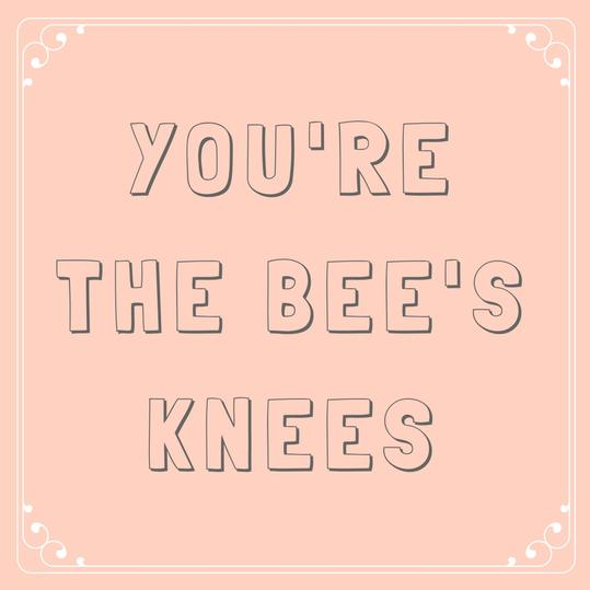 You're the bee's knees.