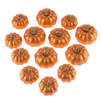 Mini Orange Glitter Pumpkins
