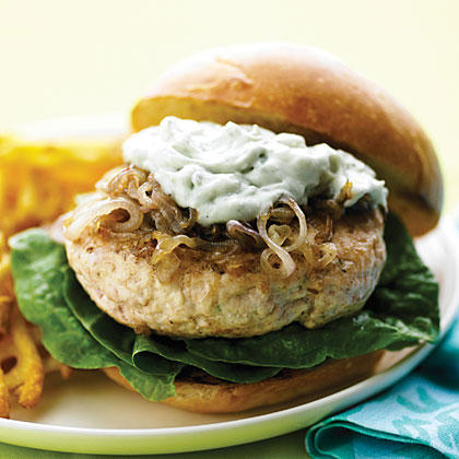 Chicken Burgers with Caramelized Shallots and Blue Cheese
