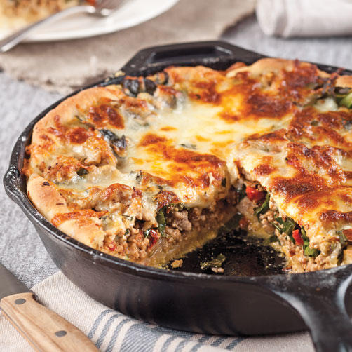 Deep-Dish Pork and Collard Greens Skillet Pizza