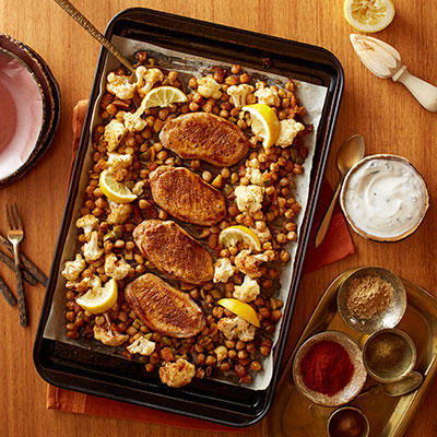 Moroccan-Inspired Pork Chops with Cauliflower and Chickpeas