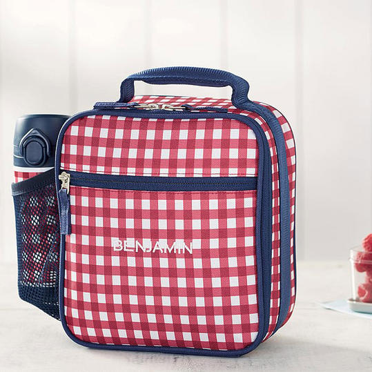 Pottery Barn Kids 'Mackenzie Red & Navy Gingham' Classic Lunch Bag