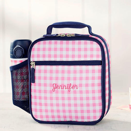 Pottery Barn Kids 'Mackenzie Pink & Navy Gingham' Classic Lunch Bag