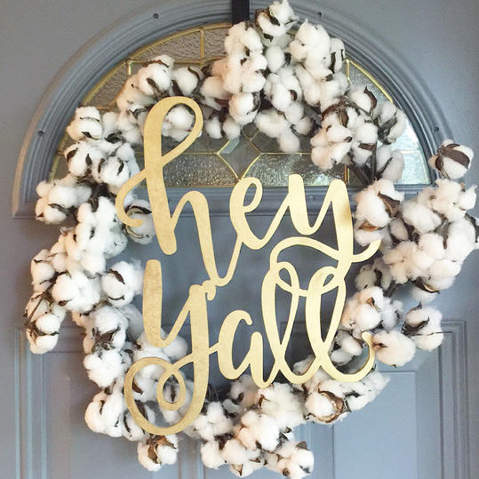 Hey Y'all Cotton Wreath