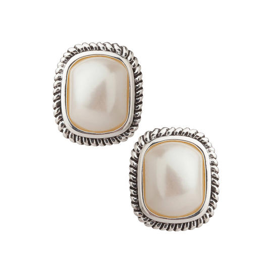 Large Pearl With Cable Edge Clip On Earrings