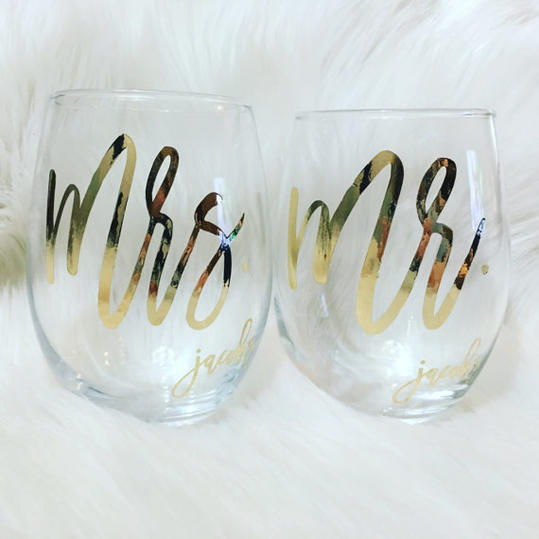 Unique Engagement Gifts: Mr. and Mrs. Wine Glasses