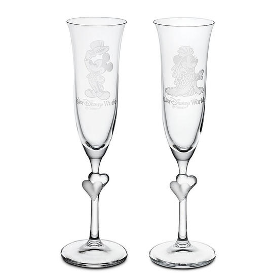 Minnie and Mickey Mouse Glass Flute Set