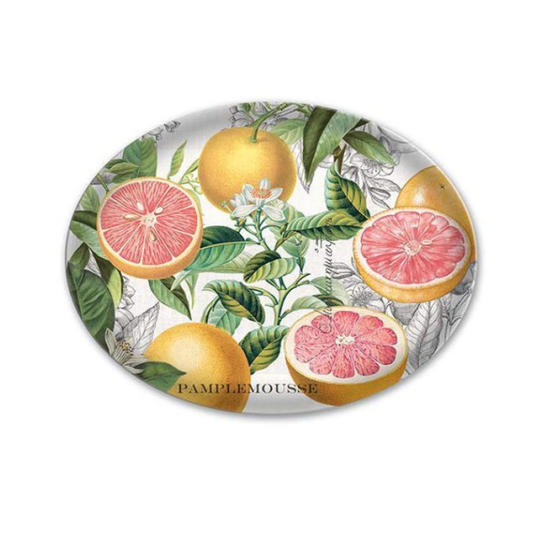 Pink Grapefruit Oval Glass Soap Dish