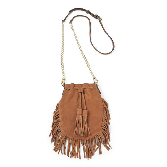 Suede Crossbody Bag with Tassels