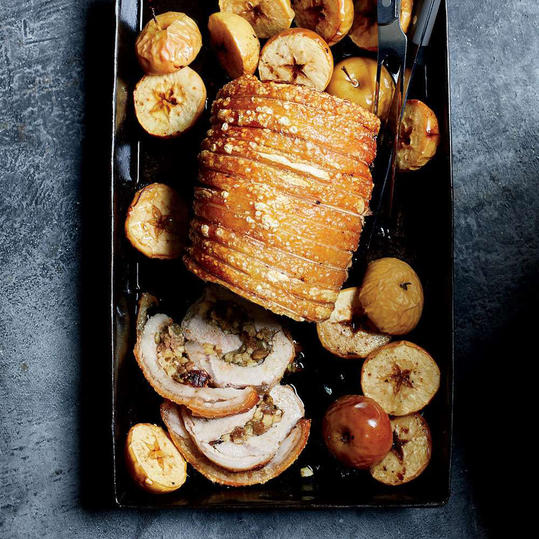 Pork Loin Stuffed with Apples and Pumpkin Seeds